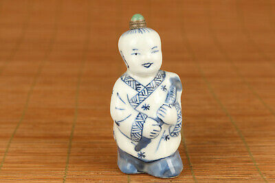 chinese old blue and white porcelain carved child statue snuff bottle collectabl