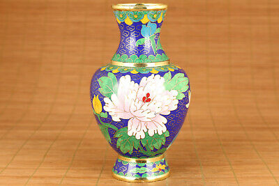 unique chinese old cloisonne hand painting flower vase