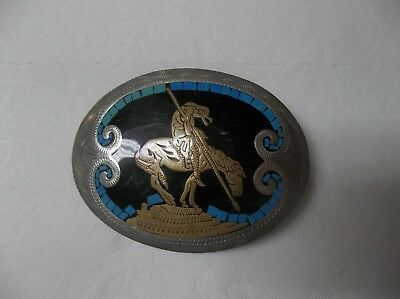 VINTAGE END OF THE TRAIL JOHNSON & HELD SOUTHWESTERN BUCKLE 1970's