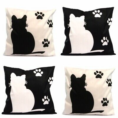 Soft Faux Fur Black And White Cat Design Cushions 43 X 43 Cm | Soft And Furry