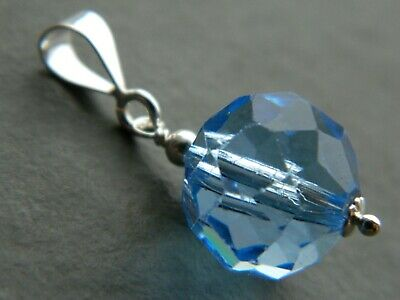 Vintage Art Deco Faceted Sapphire Blue Glass Crystal Bead & 925 Silver Pendant