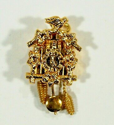 Vintage 14K Solid Gold Cuckoo Clock Pendant / Charm Movable Parts