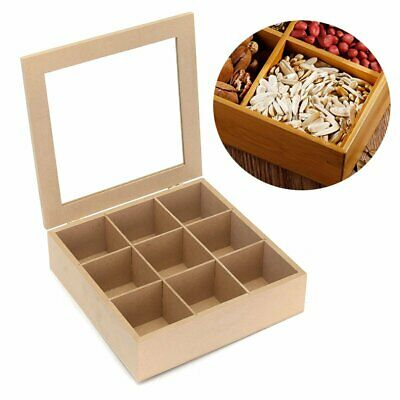 9 Compartments Wooden Tea Box Spice Display Box Hinged Glass Lid Kitchen Food St