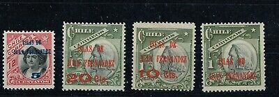 Chile, 1910, stamps overprinted, 4 values mint