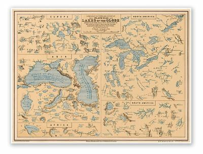 Elegant Hydrology Map of the INLAND SEAS and LAKES of the GLOBE circa 1852 18x24