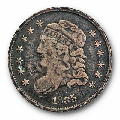 1835 Capped Bust Half Dime Very Fine to Extra Fine Rim Hits Small Date 5c #7990