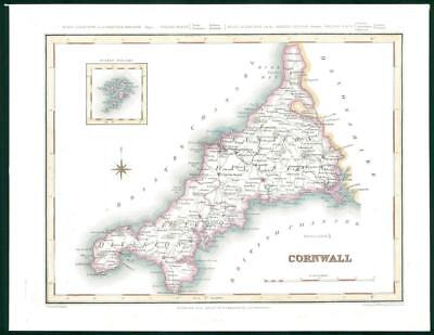 1845 - Original Antique Map of CORNWALL by Lewis & Co hand coloured (bm12)