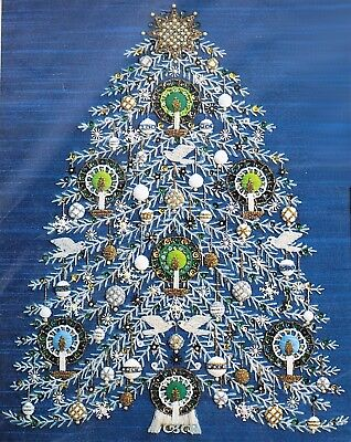 TREE OF PEACE Christmas Holiday Crewel Embroidery Kit Blue Fabric Sequins Beads