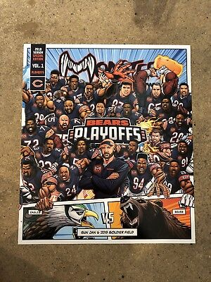 2018 Playoffs Monsters of the Midway Chicago Bears Team Picture Roster Card SGA