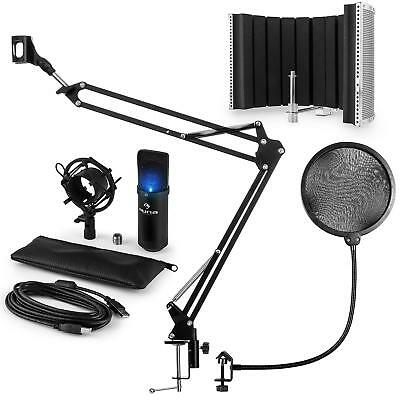 auna MIC-900B-LED Set Microfoni USB Condensatore V5 Anti-Pop Nero Studio Registr
