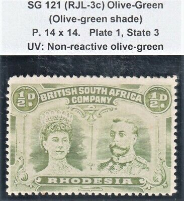 Rhodesia 1910 SG121 1/2d (RJL-3c) Olive-Green P14x14 Plate 1 State 3