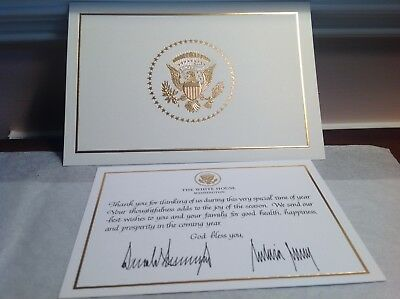 2017 Trump White House Signed CHRISTMAS CARD + THANK YOU CARD