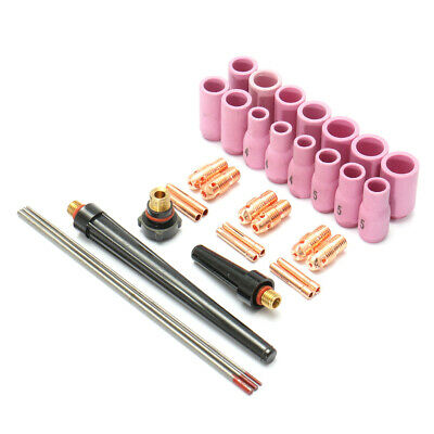 33Pcs Tig Welding Torch Accessories Nozzle Part Kit for WP9 1.6mm 2.4mm 3.2mm