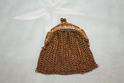 Small Antique Victorian Embossed Gold Metal Mesh Coin Doll Purse Chatelaine