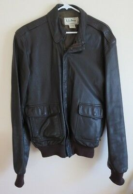 LL Bean Men's Leather Bomber Jacket Dark Brown Size 42 Long