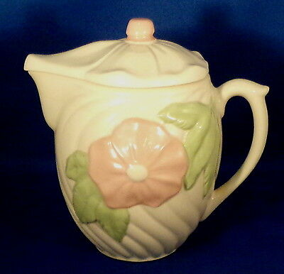 USA American Bisque Swirl Cloud Batter Pitcher & Lid Pink Flower Nice Condition