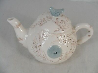 Mud Pie Nest Tea Pot with Blue Bird on the Lid
