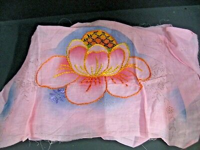 Antique Vtg 1920s Pink Shabby Floral Embroidered Boudoir Pillow Cover you finish