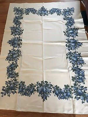 Vintage Tablecloth Blue Grape Apple Pattern  Luther Travis 65 x 47  Linen Fabric