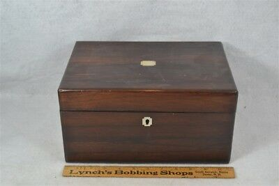 antique sewing box Victorian mahogany MOP inlaid compartments secret drawer 1800