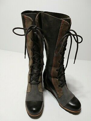 968be2886e0e SOREL CATE THE Great Wedge Boot Grey Tall Lace Boots Pebble 10 ...
