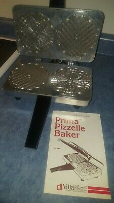 NEW VillaWare Prima Pizzelle Baker Iron Model 5000. MADE IN USA Instructions NOS
