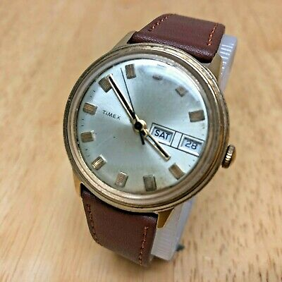 Vintage Timex Mercury Men Gold Tone Leather Hand-Winding Watch Hours~Runs &Stops