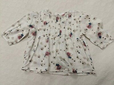 The Little White Company London Shirt Top White With Flower Pattern 12-18 Months