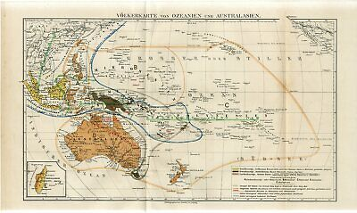 1887 OCEANIA AUSTRALIA NEW ZEALAND PHILIPPINES PAPUA BORNEO PEOPLE NATIONS Map