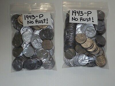 1943-P  Dates Steel Lincoln Wheat Cent 4 Rolls =200 Pennies No Rust!!