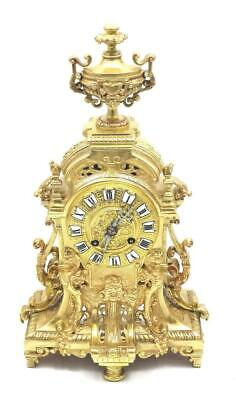 Antique Mantle Clock French Superb 1870's Embossed Pierced Bronze Bell Striking