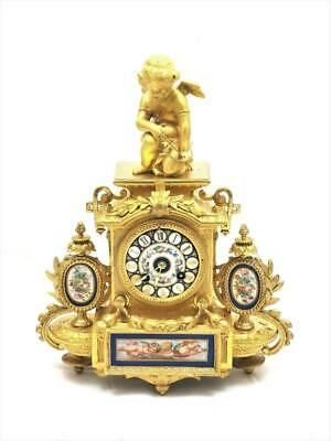 Antique French Mantle Clock Stunning Original Finish & Blue Sevres 8 Day Figural
