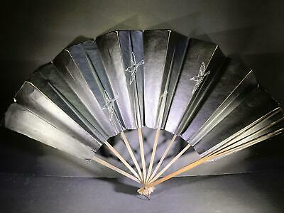) Vintage Paper Japanese Fan Wood Birds Flowers Black Paper