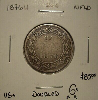 Newfoundland Victoria 1876H Doubled 6 Silver 20 Cents - VG+
