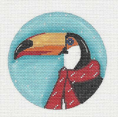 Toucan Bird in a Red Scarf handpainted Needlepoint Canvas by ZIA from Danji