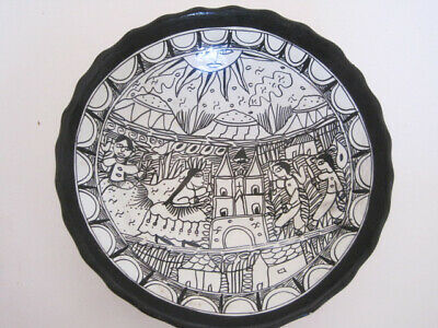 Vintage Terra Cotta Aztec Mayan Indian Folk Art Black & White Bowl Pottery