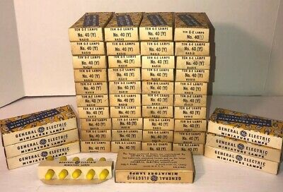 47 Boxes of 10 General Electric G.E. No. 40 Miniature Radio Lamps (YELLOW) NOS