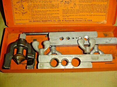 Vintage Imperial Brass Mfg. Double Flaring Tubing Tool Kit No. 375-Fs Nice Usa