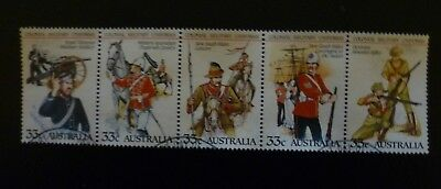 Australian Stamps - 1985 33c Colonial Military Uniforms - strip of 5 (used)
