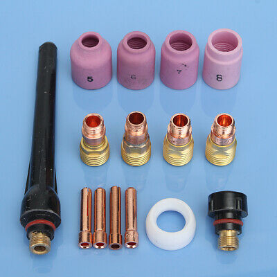 15Pcs TIG Welding Torch Porcelain Nozzles Stubby Gas Lens Kit For WP-17/18/26