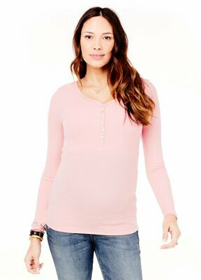 2107bf5a19a Ingrid   Isabel Maternity Nursing Long Sleeve Henley Top Small 4 6 New Baby  Pink