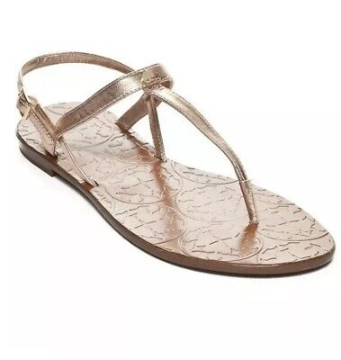 f696acb488ae25 Kate Spade Citrine Flat T-strap Sandals Rose Gold Leather Size 7 NEW  125  Womens