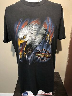 VTG 1990 Harley Davidson Clawing Eagle 3D Emblem Soft-thin Tee-XL