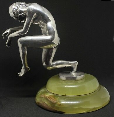 K.Perl Silver Plated Bronze Dancer Paperweight or Hood Ornament / Car Mascot