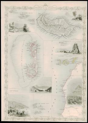 """1850 Antique Map """"ISLANDS IN THE ATLANTIC"""" Tallis BERMUDA MADEIRA CANARY (dw34)"""