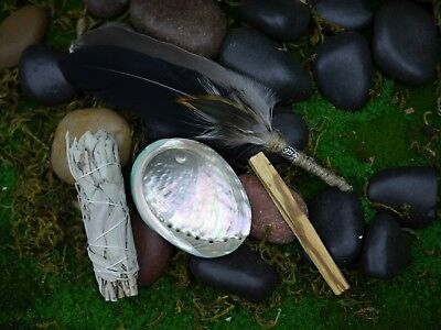 Smudging Kit  Feather Wand Perthro Rune Shell 8.5cm White Sage Palo Santo