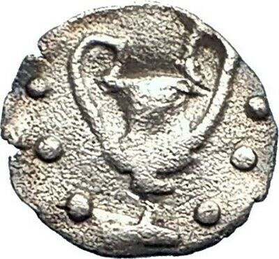 NAXOS in SICILY Rare 461BC Ancient Silver Greek Coin DIONYSUS KANTHAROS i73526