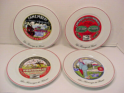 """Les Fromages de France set of 4 Cheese plates Kiss That Frog 7.75"""""""