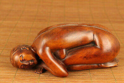 antique chinese old boxwood hand carved yoga statue figure netsuke collectable