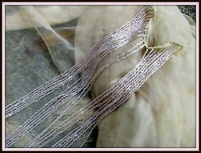 Rare Sparkling Tiny Opalescent Pearlescent Antique Blush Pink Fringe Dangle Trim
